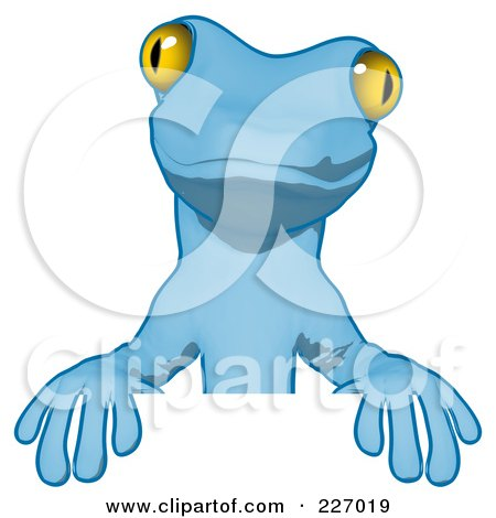 Royalty-Free (RF) Clipart Illustration of a Blue Cartoon Gecko Standing Behind A Blank Sign by Julos