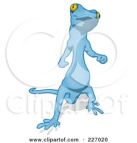 Royalty-Free (RF) Clipart Illustration of a Blue Cartoon Gecko Facing Front by Julos
