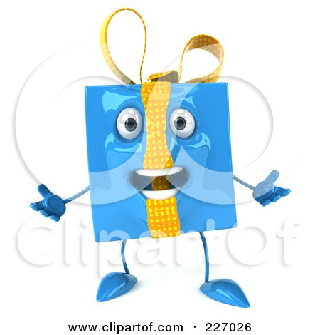 Royalty-Free (RF) Clipart Illustration of a 3d Blue Gift Character Acting Surprised by Julos