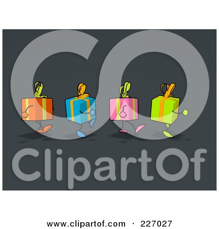 Royalty-Free (RF) Clipart Illustration of a Group Of Gift Characters Marching, Over Gray by Julos