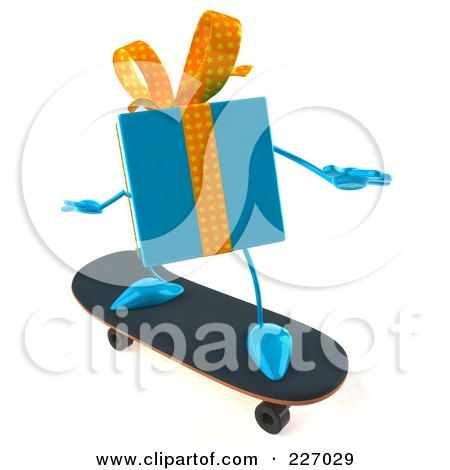 Royalty-Free (RF) Clipart Illustration of a 3d Blue Gift Character Skateboarding by Julos