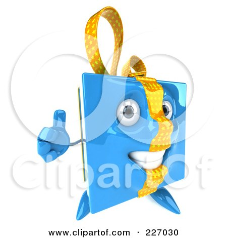 Royalty-Free (RF) Clipart Illustration of a 3d Blue Gift Character With A Thumb Up by Julos