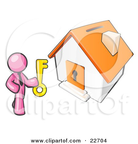 Clipart Illustration of a Pink Businessman Holding A Skeleton Key And Standing In Front Of A House With A Coin Slot And Keyhole by Leo Blanchette