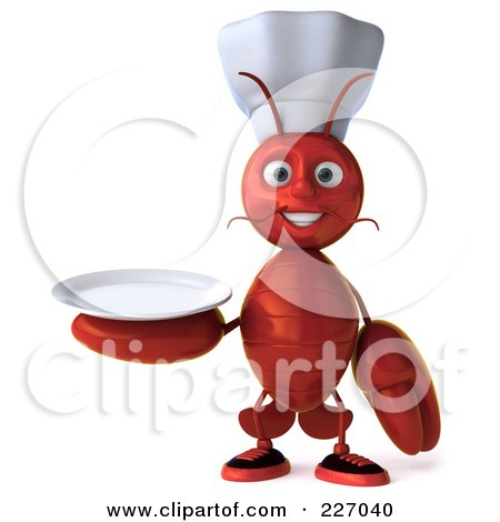 Royalty-Free (RF) Clipart Illustration of a 3d Lobster Chef Holding A Plate by Julos