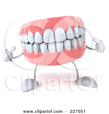 Royalty-Free (RF) Clipart Illustration of a 3d Dentures Character Pointing At His Pearly Whites by Julos