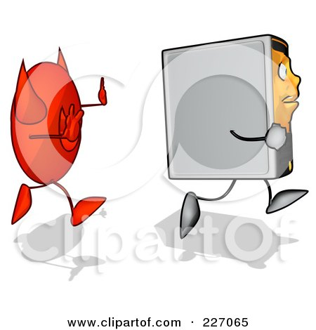 Royalty-Free (RF) Clipart Illustration of a Cartoon Computer Tower Running From A Devil - 2 by Julos