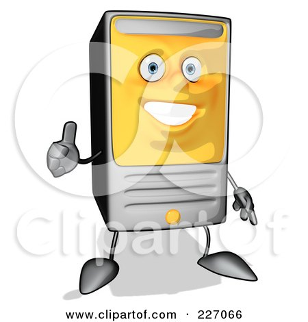 Royalty-Free (RF) Clipart Illustration of a Cartoon Computer Tower Holding A Thumbs Up by Julos