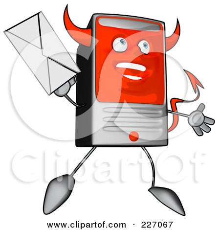 Royalty-Free (RF) Clipart Illustration of a Devil Cartoon Computer Tower Holding An Envelope - 4 by Julos