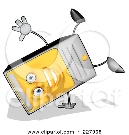 Royalty-Free (RF) Clipart Illustration of a Cartoon Computer Tower Doing A Hand Stand by Julos