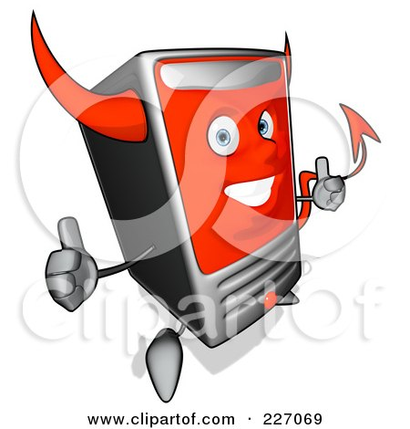 Royalty-Free (RF) Clipart Illustration of a Devil Cartoon Computer Tower Holding Two Thumbs Up by Julos