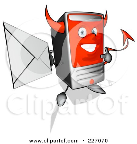 Royalty-Free (RF) Clipart Illustration of a Devil Cartoon Computer Tower Holding An Envelope - 1 by Julos