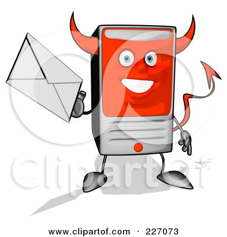 Royalty-Free (RF) Clipart Illustration of a Devil Cartoon Computer Tower Holding An Envelope - 2 by Julos