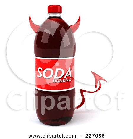 Royalty-Free (RF) Clipart Illustration of a 3d Devil Soda Bottle by Julos