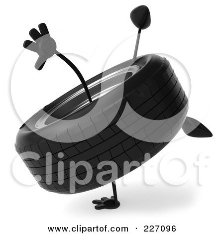 Royalty-Free (RF) Clipart Illustration of a 3d Tire Character Doing A Hand Stand - 2 by Julos