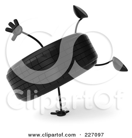 Royalty-Free (RF) Clipart Illustration of a 3d Tire Character Doing A Hand Stand - 1 by Julos