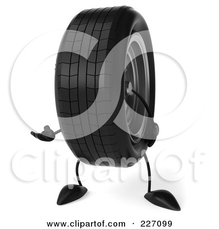 Royalty-Free (RF) Clipart Illustration of a 3d Tire Character Gesturing by Julos