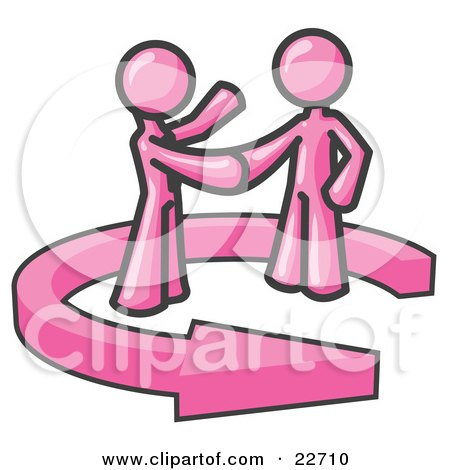Clipart Illustration of a Pink Salesman Shaking Hands With a Client While Making a Deal by Leo Blanchette
