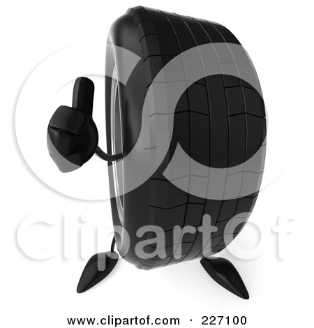 Royalty-Free (RF) Clipart Illustration of a 3d Tire Character Holding A Thumb Up by Julos