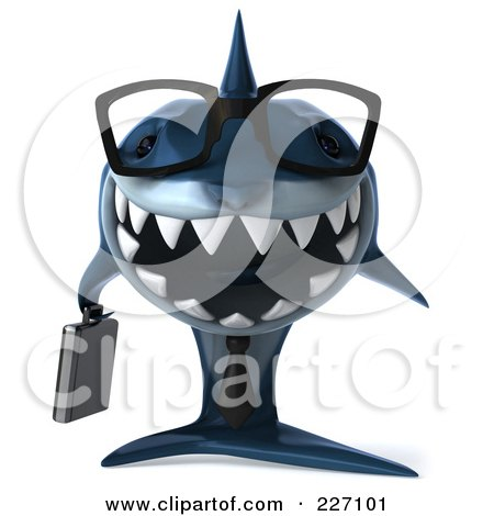Royalty-Free (RF) Clipart Illustration of a 3d Blue Shark Business Man Wearing Glasses And Facing Front by Julos
