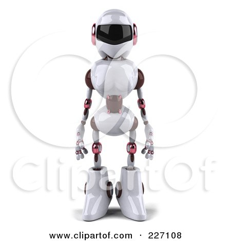 Royalty-Free (RF) Clipart Illustration of a 3d Female Techno Robot Facing Front by Julos