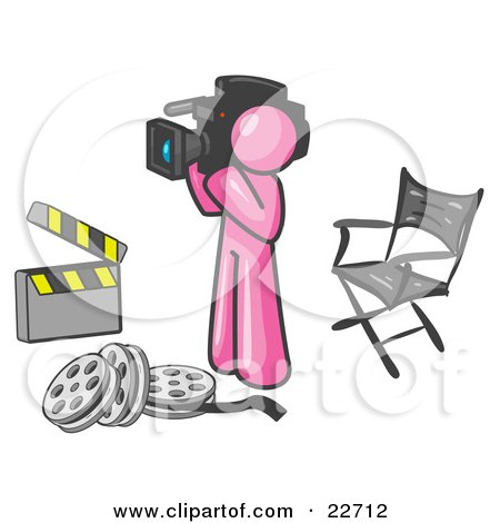 Clipart Illustration of a Pink Man Filming a Movie Scene With a Video Camera in a Studio by Leo Blanchette