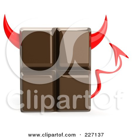 Royalty-Free (RF) Clipart Illustration of a 3d Devil Chocolate Candy Bar by Julos