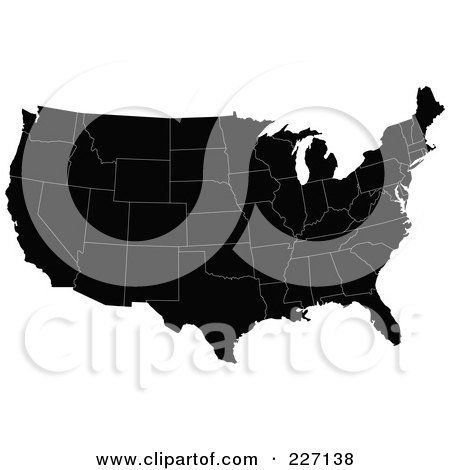 Royalty-Free (RF) Clipart Illustration of a Black Map Of The Contiguous United States With White Borders by JR