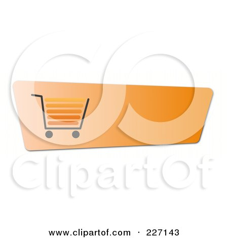 Royalty-Free (RF) Clipart Illustration of a Blank Orange Shopping Cart Button by oboy