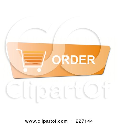 Royalty-Free (RF) Clipart Illustration of an Orange Order Button With A Shopping Cart by oboy