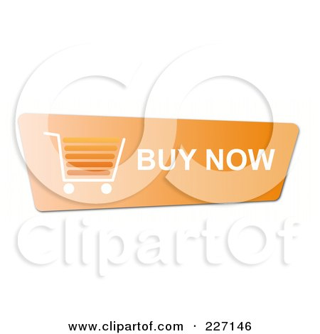 Royalty-Free (RF) Clipart Illustration of an Orange Buy Now Button With A Shopping Cart by oboy