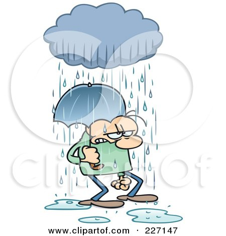 Royalty-Free (RF) Clipart Illustration of a Grumpy Toon Guy Getting Rained On And Walking Under An Umbrella by gnurf