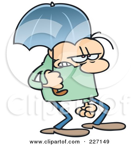 Royalty-Free (RF) Clipart Illustration of a Grumpy Toon Guy Walking With An Umbrella by gnurf