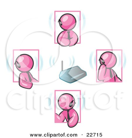 Clipart Illustration of a Group of Four Pink Men Holding A Phone Meeting And Wearing Wireless Bluetooth Headsets by Leo Blanchette