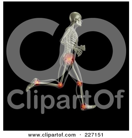 3d Skeleton Running With Hip, Knee And Ankle Joints Highlighted Posters, Art Prints