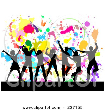 Royalty-Free (RF) Clipart Illustration of Silhouetted People Dancing Over A Colorful Splatter On White Background by KJ Pargeter