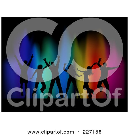 Royalty-Free (RF) Clipart Illustration of a Background Of Silhouetted Dancers Over Colorful Lights On Black by KJ Pargeter