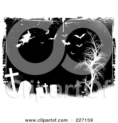 Royalty-Free (RF) Clipart Illustration of a Grungy Black And White Halloween Background Of Tombstones, A Witch, Bats And Bare Tree by KJ Pargeter
