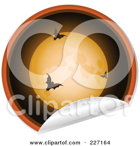 Royalty-Free (RF) Clipart Illustration of a Peeling Halloween Sticker Of A Full Moon And Vampire Bats by elaineitalia