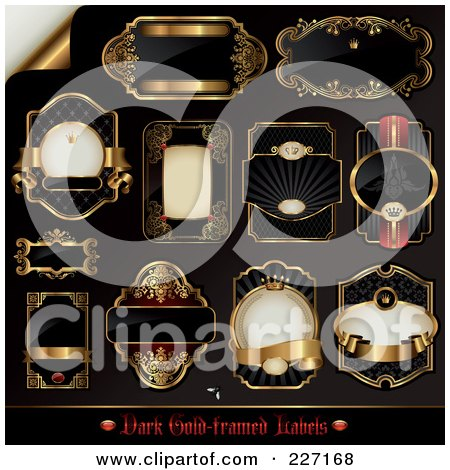 Royalty-Free (RF) Clipart Illustration of a Digital Collage Of Black And Golden Label Designs by Anja Kaiser