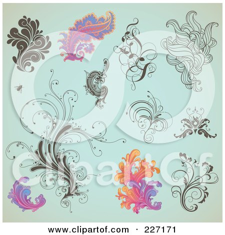 Royalty-Free (RF) Clipart Illustration of a Digital Collage Of Ornate Swirl Designs On Aged Turquoise by Anja Kaiser