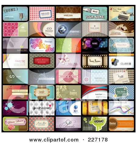 Royalty-Free (RF) Clipart Illustration of a Digital Collage Of 40 Business Card Designs With Sample Text by Anja Kaiser