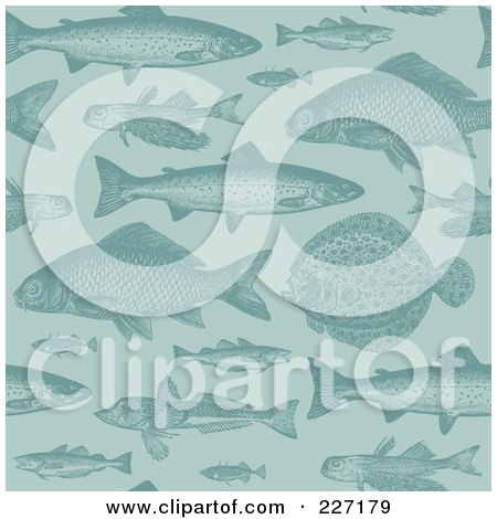 Royalty-Free (RF) Clipart Illustration of a Seamless Background Pattern Of Fish In Blue by Anja Kaiser