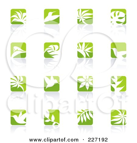Royalty-Free (RF) Clipart Illustration of a Digital Collage Of Green And White Nature Logo Icons by elena