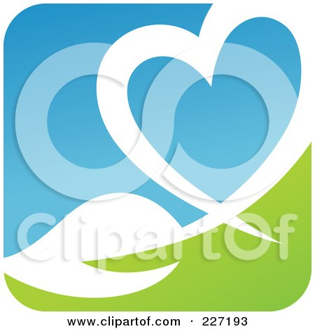 ... -Free (RF) Clipart Illustration of a Black Heart And Green Leaf Logo