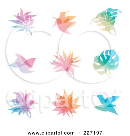 Royalty-Free (RF) Clipart Illustration of a Digital Collage Of Gradient Leaf And Bird Overlay Logo Icons by elena