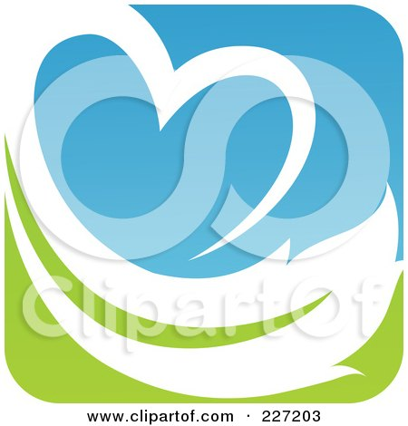 Royalty-Free (RF) Clipart Illustration of a Green, Blue And White Botanical Logo Icon - 13 by elena