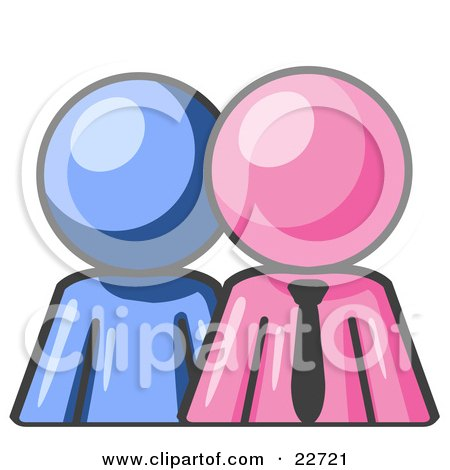 Clipart Illustration of a Blue Person Standing Beside A Pink Businessman, Symbolizing Teamwork Or Mentoring by Leo Blanchette