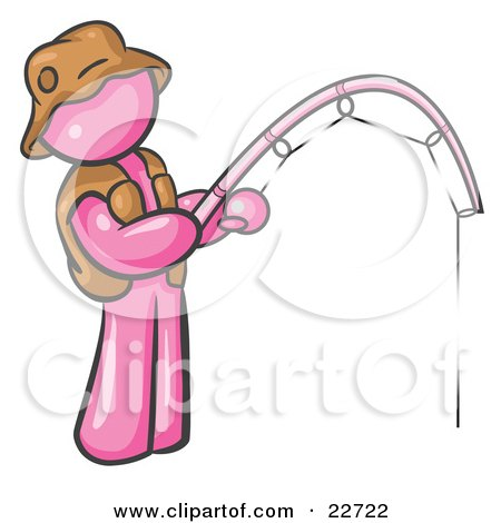 Clipart Illustration of a Pink Man Wearing A Hat And Vest And Holding A Fishing Pole by Leo Blanchette