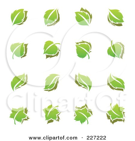 Royalty-Free (RF) Clipart Illustration of a Digital Collage Of Green Leaf Logo Icons by elena