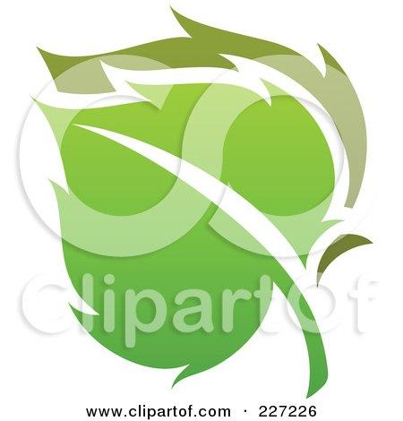 Royalty-Free (RF) Clipart Illustration of a Green Leaf Logo Icon - 7 by elena